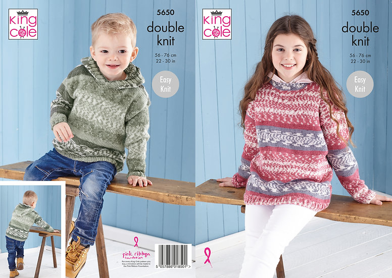 King Cole 5650 Children's Jumper and Hooded Sweatshirt Double Knit Pattern