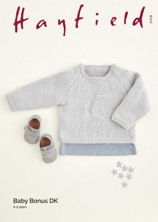 Hayfield 5418 Babies Moon Sweater Double Knitting Pattern