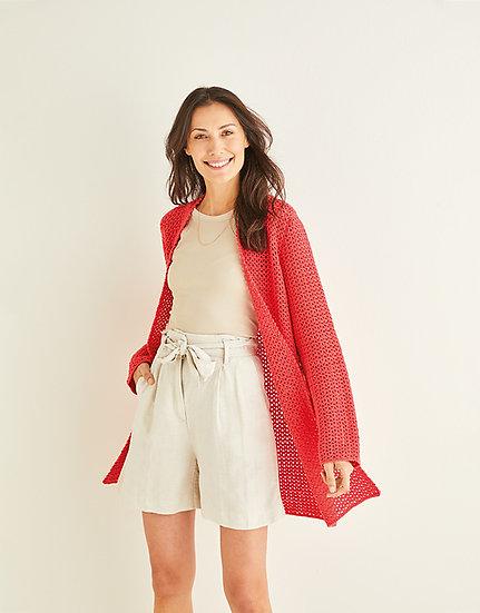 Sirdar 10249 Ladies Crochet Longline Open Cardigan Double Knit Pattern