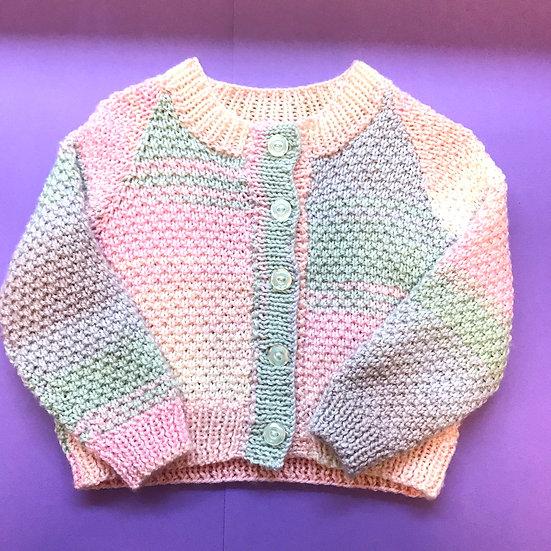 9 - 12 Months Pastel Sunset Round Neck Textured Cardigan