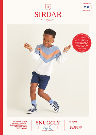 Sirdar 2531 Childrens Chevron Yoke Sweater Double Knitting Pattern