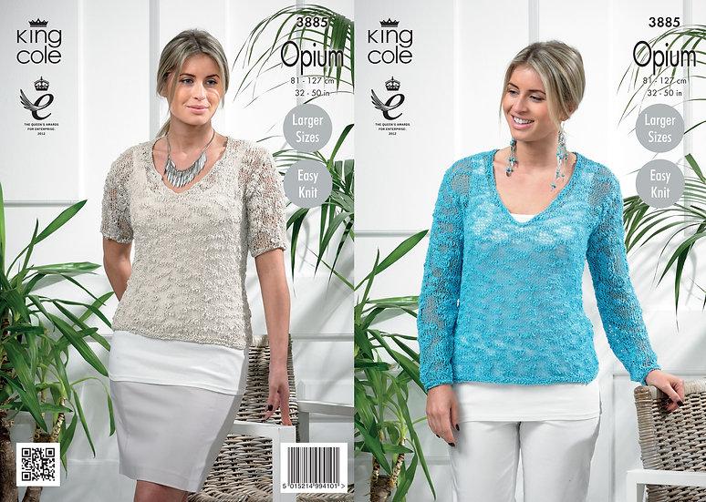 King Cole 3885 Opium V Neck Sweater Knitting Pattern