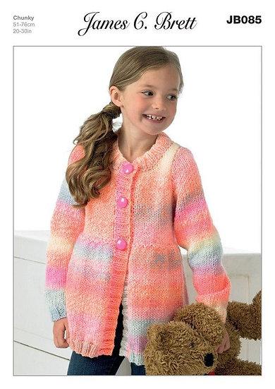 James C. Brett JB085 Childrens Long Peplum Chunky Cardigan Knitting Pattern