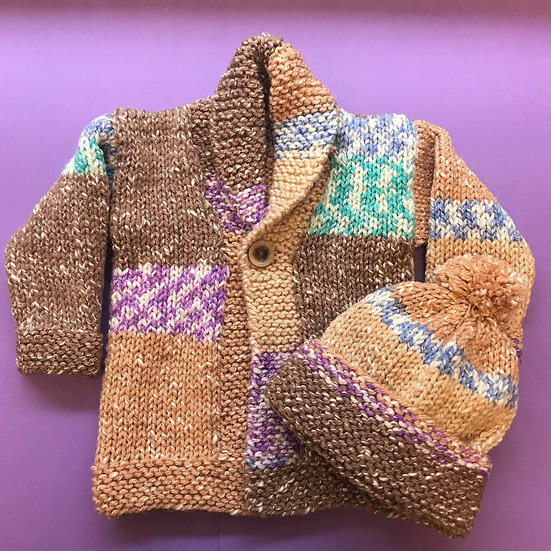6 -12 Months Rustic Shawl Collar Baby Cardigan and Hat set