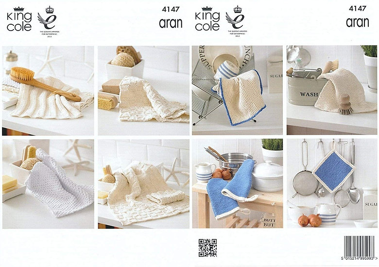 King Cole 4147 Dishcloth and Oven Mitt Aran Knitting Pattern