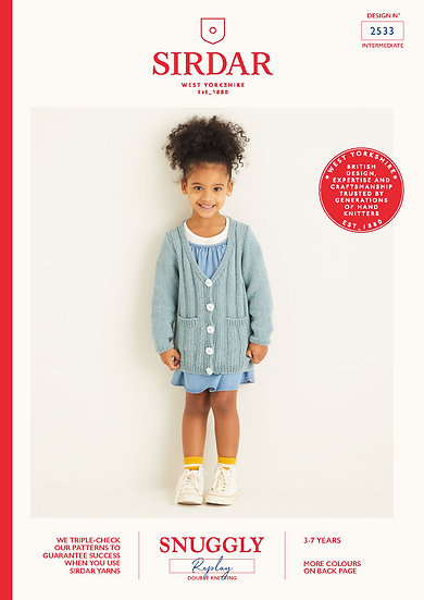 Sirdar 2533 Childrens Ribbed Cardigan Double Knitting Pattern