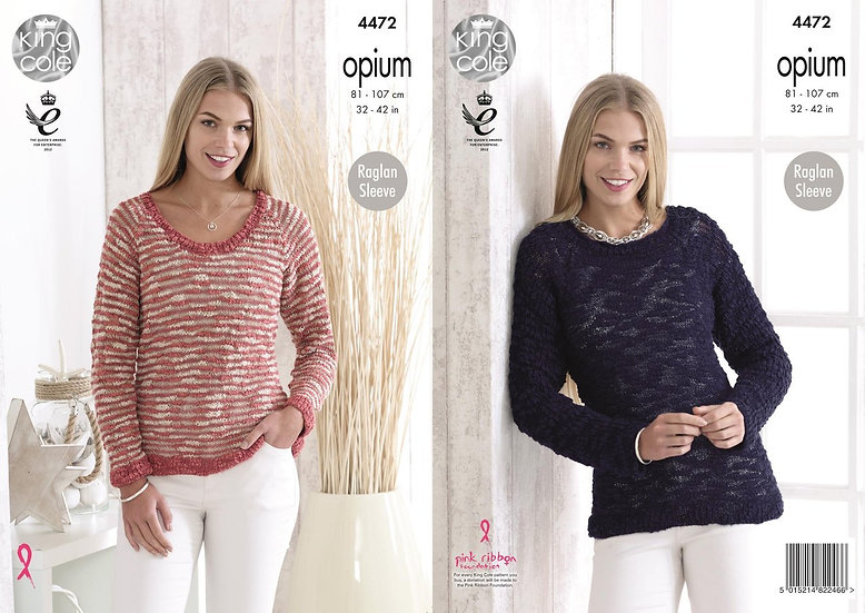 King Cole 4472 Opium Scoop Neck and Striped Sweater Knitting Pattern