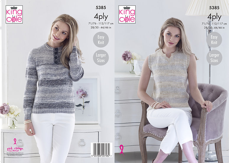 King Cole 5385 Tank Top and Sweater 4 Ply Knitting Pattern