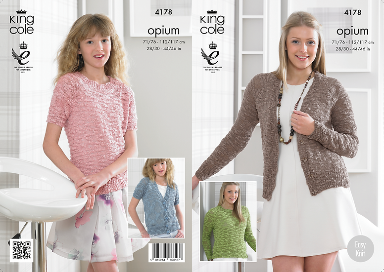 King Cole 4178 Opium Long & Short Sleeved Cardigan & Sweater Knitting Pattern
