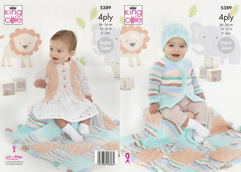King Cole 5389 Babies Cable Cardigan, Blanket and Hat 4 Ply Knitting Pattern