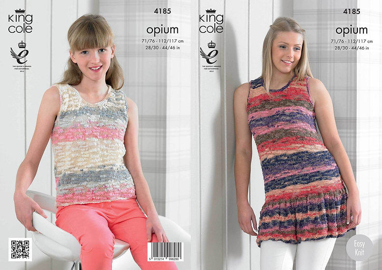 King Cole 4185 Opium Ladies Top with or without Frill Knitting Pattern
