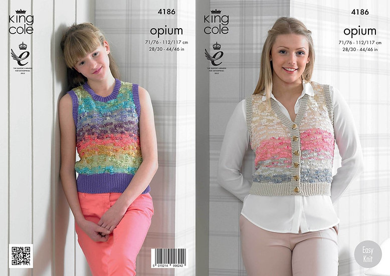 King Cole 4186 Opium Waistcoat and Slipover Tank Top Knitting Pattern