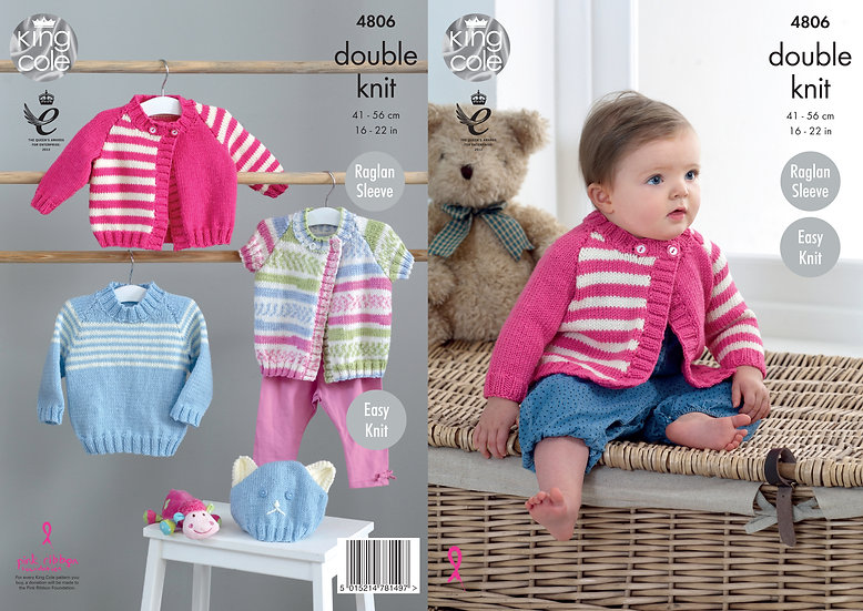 King Cole 4806 Babies Striped Cardigan and Sweater Double Knitting Pattern