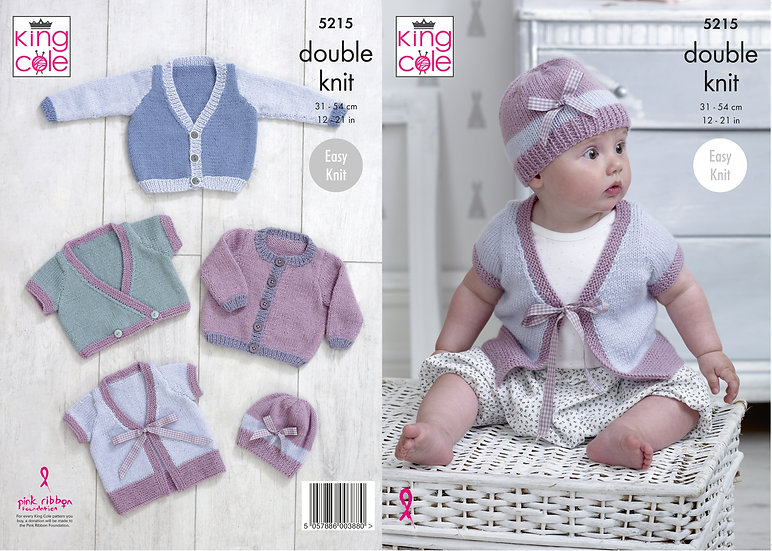King Cole 5215 Babies Cardigans and Hat Double Knitting Pattern