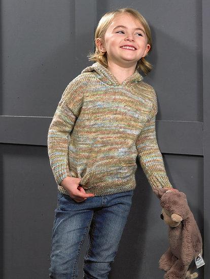 James C. Brett JB608 Childrens Hooded Sweater Pattern Double Knit