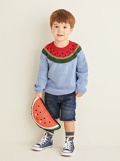 Sirdar 2567 Childrens Watermelon Knit in the Round Sweater Double Knit Pattern