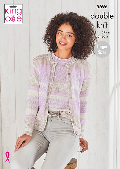 King Cole 5696 Ladies Round Neck Cardigan and Top Double Knitting Pattern