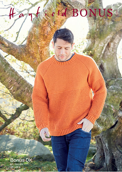Hayfield 8286 Mens Textured Sweater Double Knitting Pattern