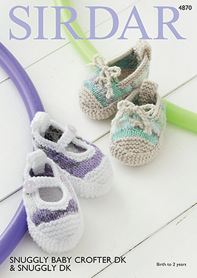 Sirdar 4870 Babies Sneaker Style Booties Double Knitting Pattern