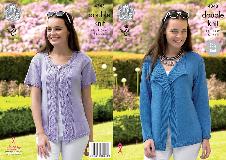 King Cole 4343  Long and Short Sleeved Cardigan Double Knitting Pattern