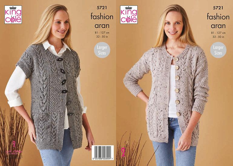 King Cole 5721 Longline Waistcoat and Jacket Aran Knitting Pattern
