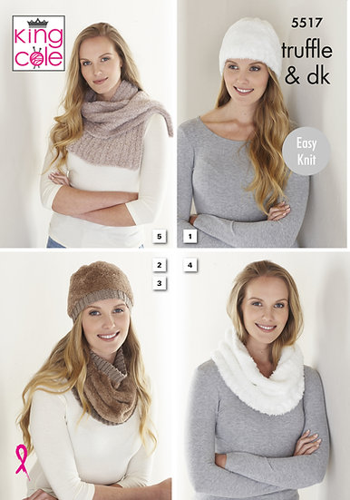 King Cole 5517 Hat, Cowls and Scarf Double Knit Pattern