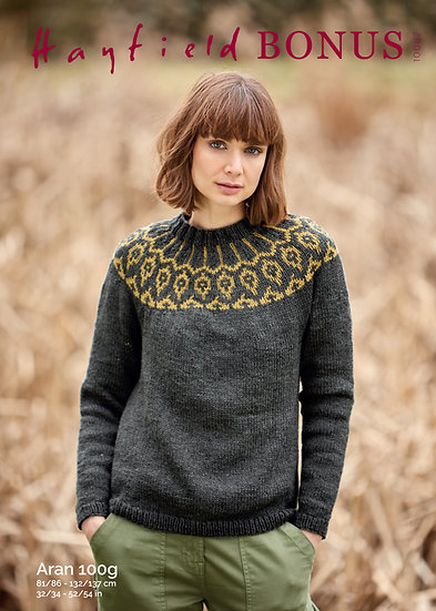Hayfield 10082 Fairisle Yoke Aran Sweater Knitting Pattern