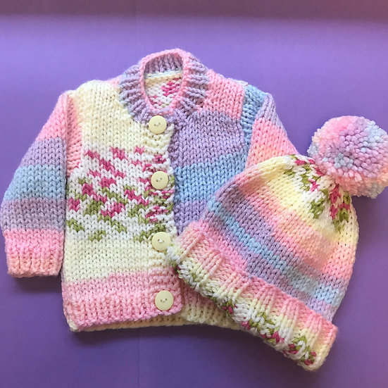 0 - 6 months Pastel Rainbow Baby Cardigan and Hat set