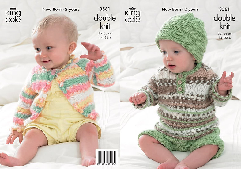 King Cole 3561 Babies Cardigan, Sweater and Shorts Double Knitting Pattern