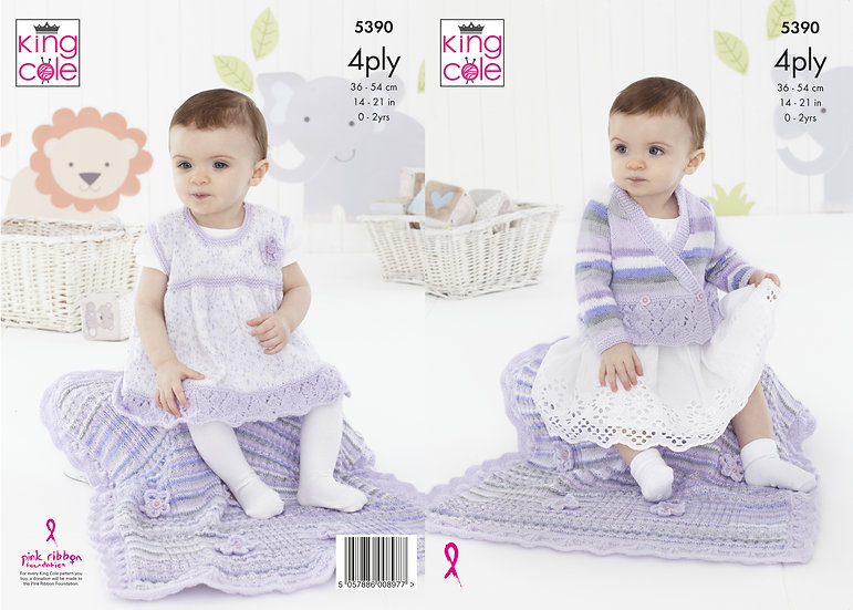 King Cole 5390 Babies Lace Jacket, Blanket & Dress 4 Ply Pattern