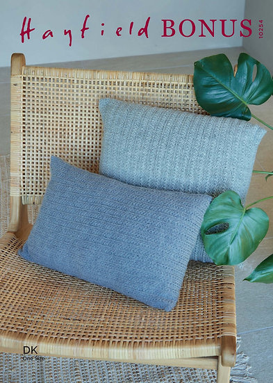 Hayfield 10254 Grass Stitch Cushion Cover Double Knitting Pattern