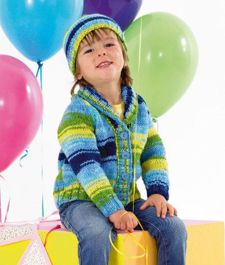 James C. Brett JB342 Children's Chunky Shawl Collar Sweater& Hat Pattern
