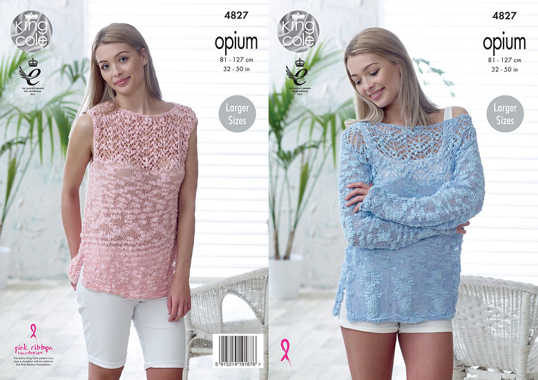 King Cole 4827 Opium Lace Detail Sweater and Top Knitting Pattern
