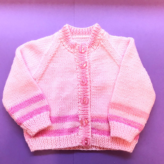 6 - 12 Months Pink with Sparkle Stripe Babies Cardigan