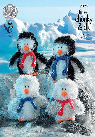 King Cole 9025 Penguins in Tinsel Chunky Pattern