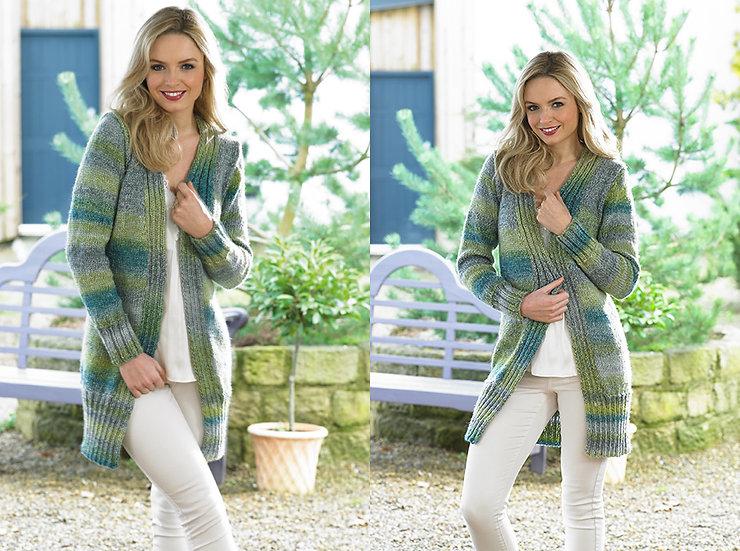 James C. Brett JB438 Longline Cosy Chunky Cardigan Knitting Pattern