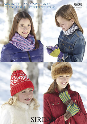 Sirdar 9629 Snood, Gloves and Fairisle Hat Double Knit Pattern