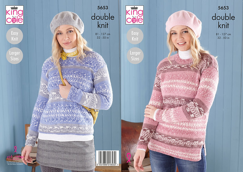 King Cole 5653 Ladies Round Neck Jumper Double Knit Pattern