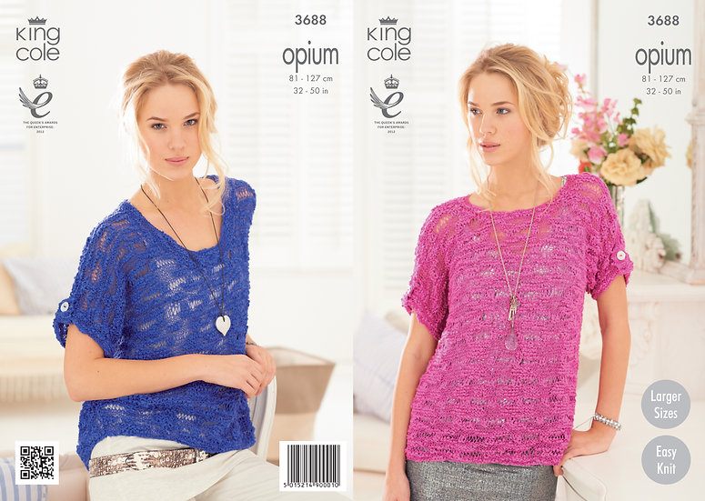 King Cole 3688 Opium Ladies Easy Knit Relaxed Boxy Top Knitting Pattern