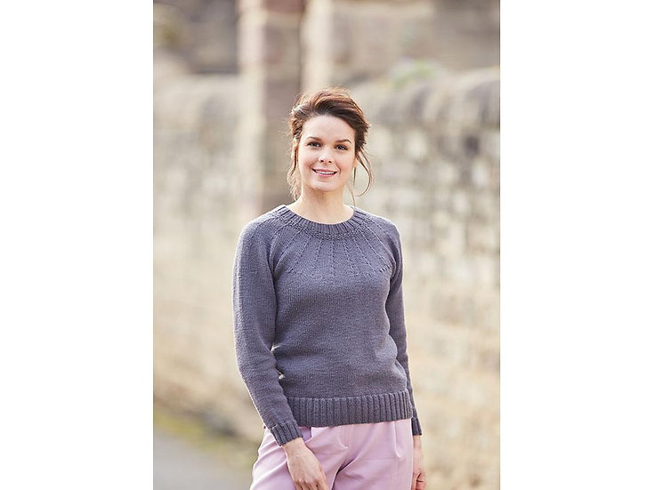 Sirdar 10004 Ladies Knitted in the Round Yoke Sweater Double Knitting Pattern