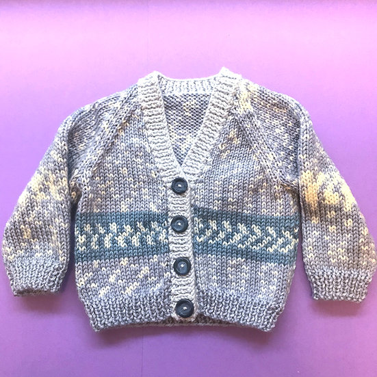 0 - 6 Months Fairisle V-Neck Baby Cardigan