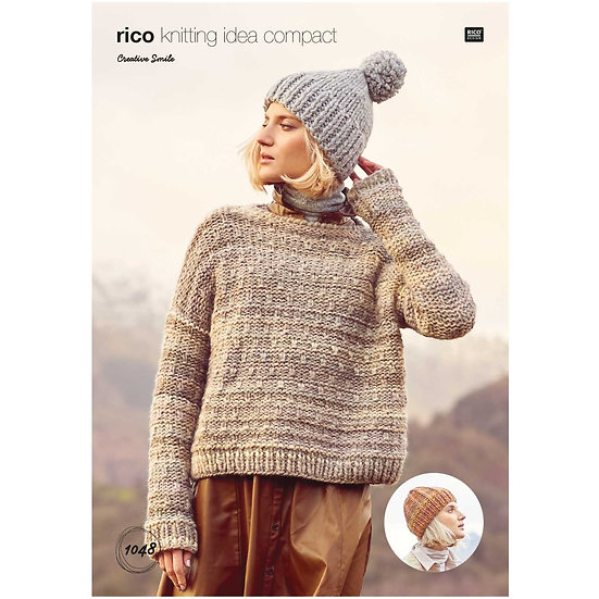 Rico 1048 Super Chunky Sweater and Hat Knitting Pattern