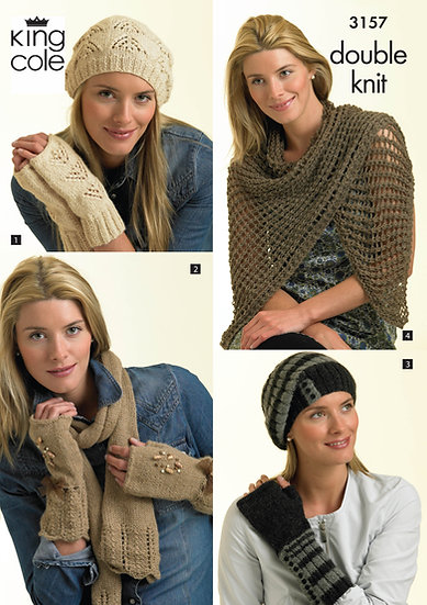King Cole 3157 Hats, Gloves. Scarves and Wrap Double Knit Pattern