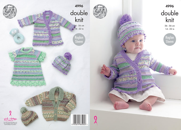 King Cole 4996 Babies Jacket, Dress and Hat Double Knitting Pattern