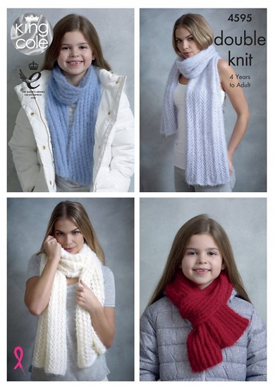 King Cole 4595 Shawls and Scarves Double Knit Pattern