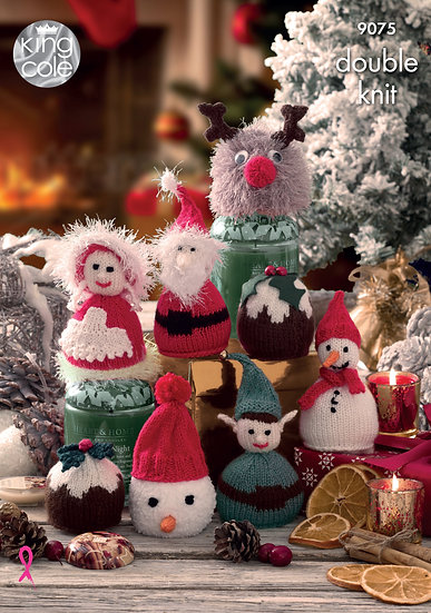 King Cole 9075 Christmas Chocolate and Sweet Covers Double Knitting Pattern