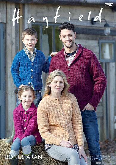 Hayfield 7987 Aran Family Cardigan Knitting Pattern