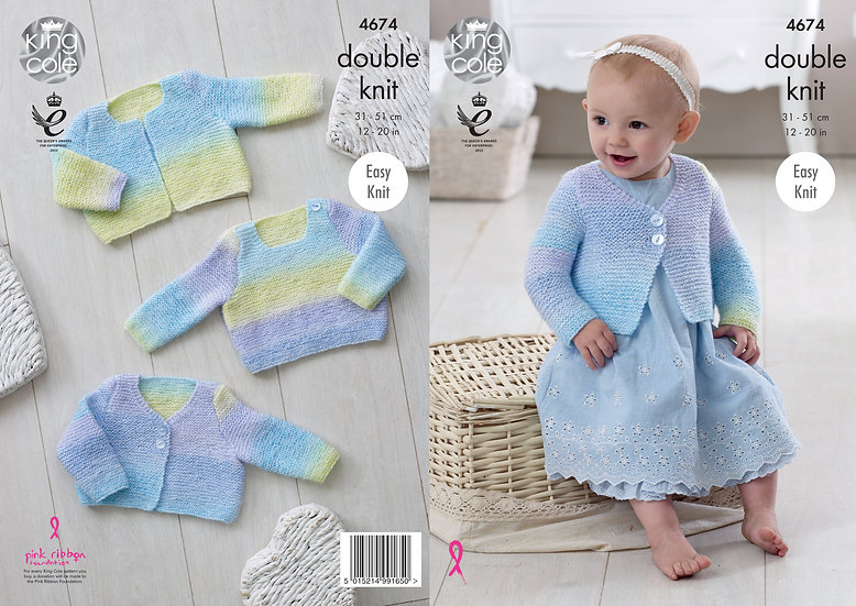 King Cole 4674 Babies Easy Knit Cardigan and Sweater Double Knitting Pattern