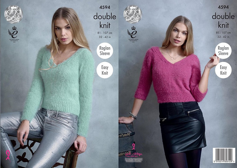 King Cole 4594 V Neck Sweater Double Knitting Pattern