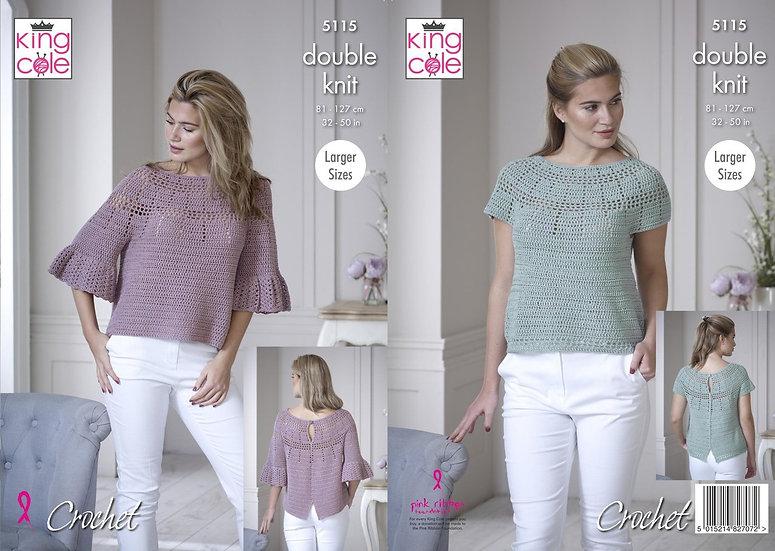 King Cole 5115 Crochet Bell Sleeve Top Double Knit Pattern